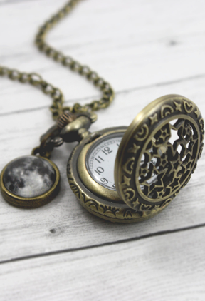 Moon And Stars Pocket Watch Necklace - Livin' Freely  - 1
