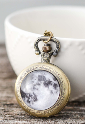 Full Moon Pocket Watch Necklace - Livin' Freely  - 1