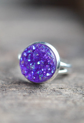 Purple Druzy Ring - Livin' Freely  - 1