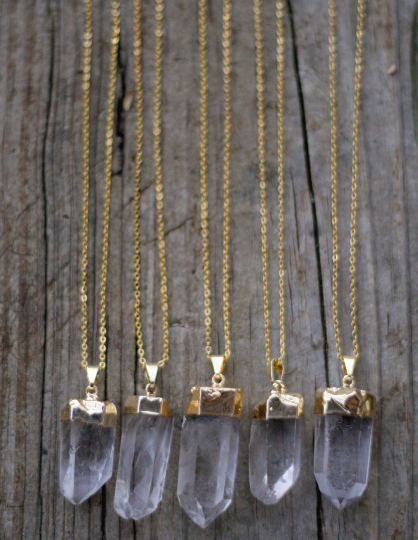 Gold Dipped Quartz Crystal Necklace - Livin' Freely  - 1
