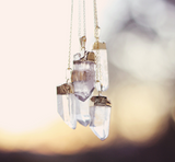 Gold Dipped Quartz Crystal Necklace - Livin' Freely  - 3