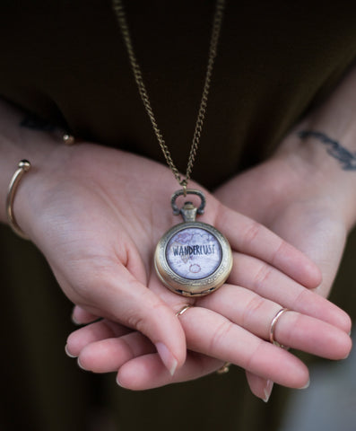 Bronze Wanderlust Pocket Watch Necklace - Livin' Freely  - 1