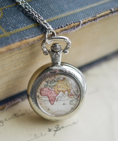 Silver World Map Pocket Watch Necklace - Livin' Freely  - 1