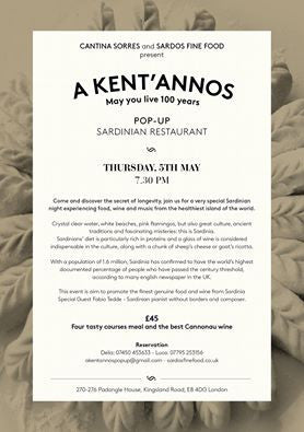 A KENT' ANNOS POP UP RESTAURANT 5th May London 2016