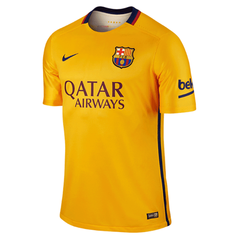 Nike FC Barcelona 2015-16 Men Away Match Jersey-Gold - SoccerCart/SoccerMall