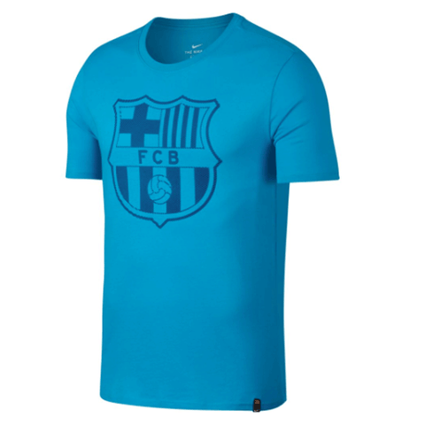 Nike Barcelona FC 2017-18 Men Crest T-Shirt - Light Blue - SoccerCart/SoccerMall