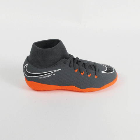 Nike Kids Phantom III Academy DF Dynamic IC Indoor Soccer Shoes-Grey Orange - SoccerCart/SoccerMall