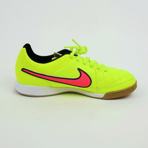 Nike Junior Tiempo Genio Leather IC Indoor Soccer Shoes - Volt - SoccerCart/SoccerMall