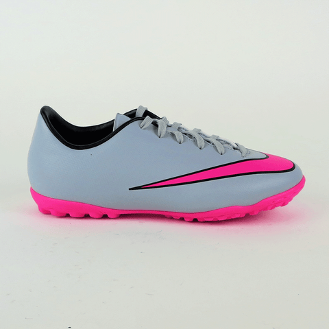 Nike Junior Mercurial Victory V TF Turf Soccer Shoes - Grey Pink - SoccerCart/SoccerMall