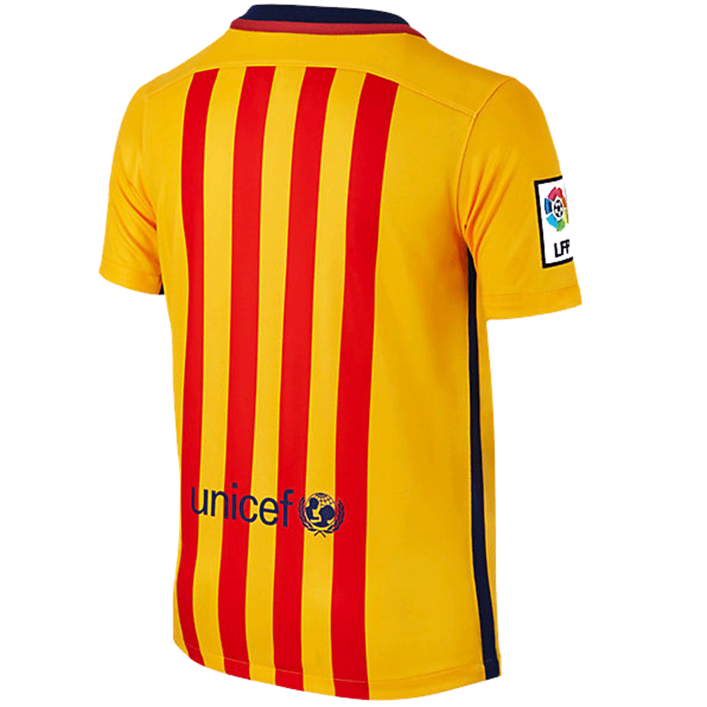 caeb5181e ... discount nike fc barcelona 2015 16 youth away soccer jersey yellow red  soccercart ebee9 e1c7b