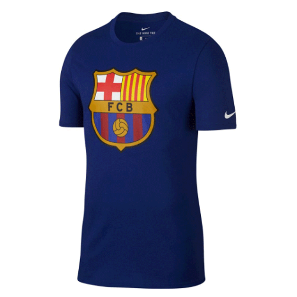 df737981943 Nike Barcelona FC 2017-18 Kids Evergreen Crest T-Shirt - Blue - SoccerCart  ...