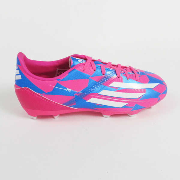 finest selection 836e2 b612f Adidas F10 Junior Soccer Cleats-Pink Blue - SoccerCartSoccerMall