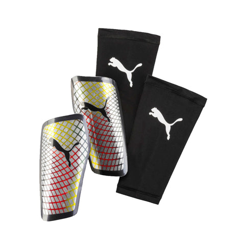 Puma Standalone Slip on shinguard-Silver red - SoccerCart/SoccerMall