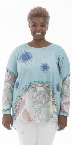 Porcelain Sky - Elegant Print, Women's Long Sleeve Shirt
