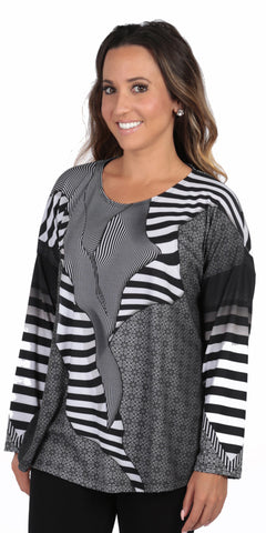 Power - Black and White Long Sleeve Print Women's Top