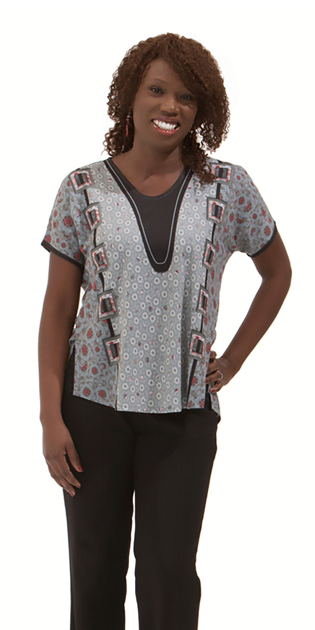 Modern Calico - Delicate Print Women's Short Sleeve Top