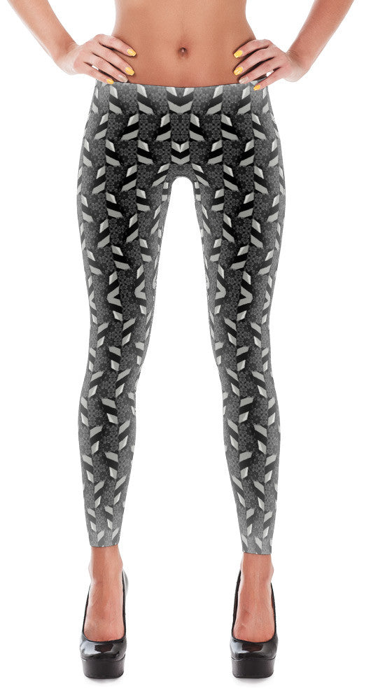Hold On Tight - Black and White Print Leggings