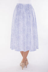 Pleated Mid-length Skirt-printed in original hand-drawn art