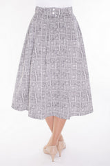 Box Pleated Mid-length Skirt-printed in original hand-drawn art