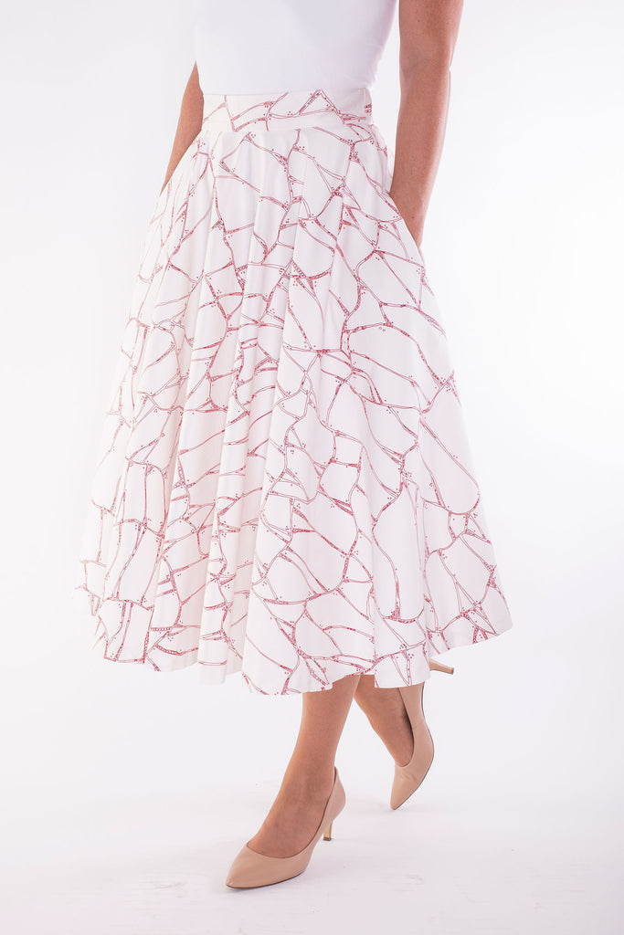 Full Mid-length Skirt-printed in original hand-drawn art