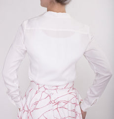 Sheer Long Sleeve Blouse-Made in Italian cotton