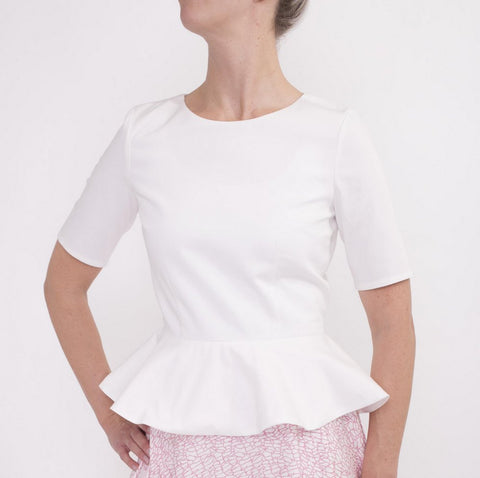 Fitted Shirt with Wide Peplum-Made in Italian cotton