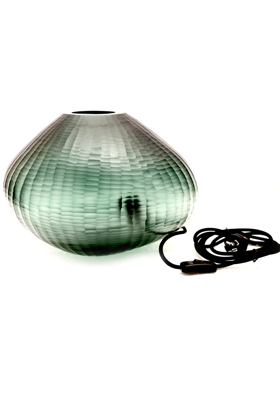 FREEFORM HAND CUT ART GLASS TABLE LAMP - BOTTLE GREEN - Nolan & Co