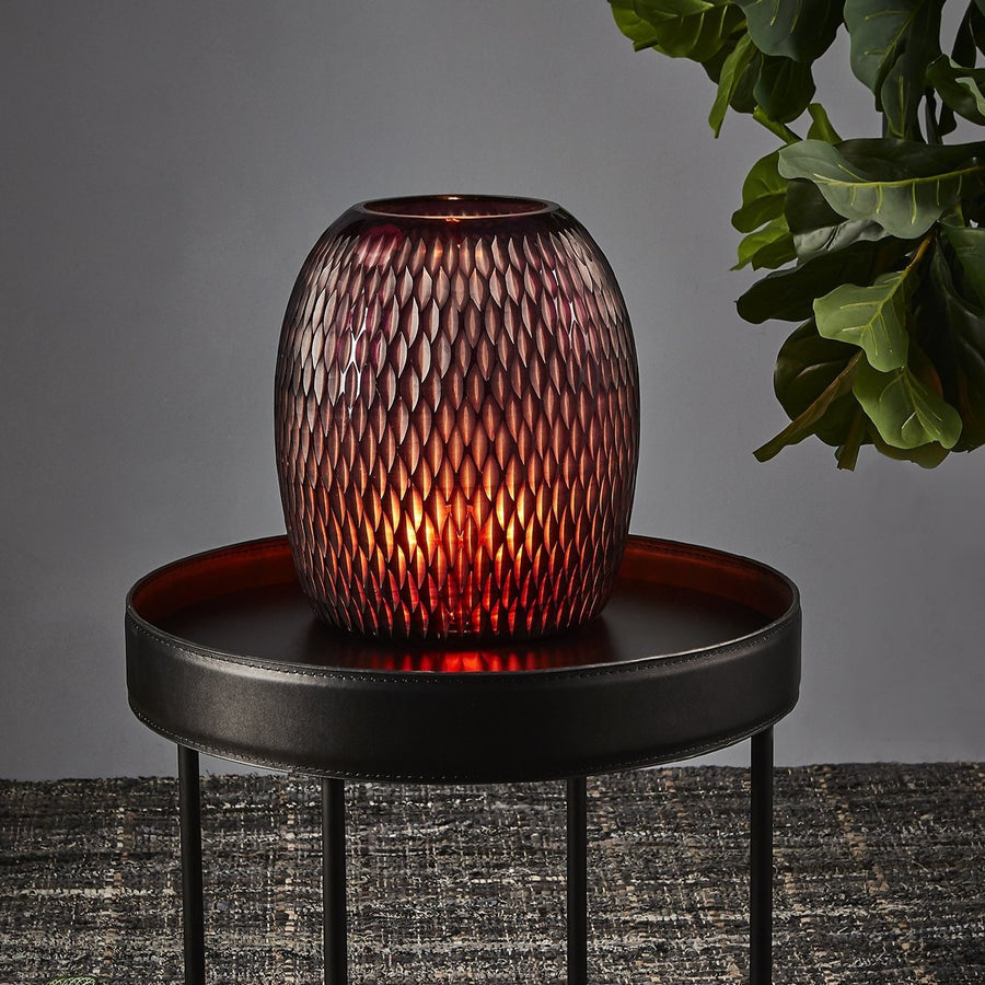HAND CUT POD GLASS TABLE LAMP - RED - Nolan & Co