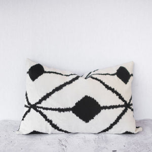 Bedouin Embroidered Linen Cushion - white