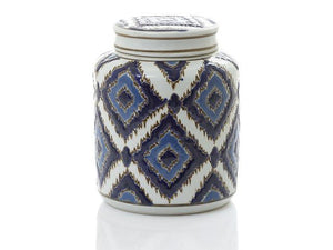 Hermes Moroccan Ginger Jar - Round - Blue / White - Nolan & Co