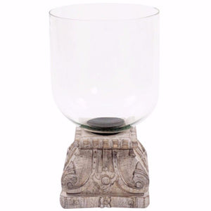 Hand Carved Wood & Glass Hurricane - Nolan & Co