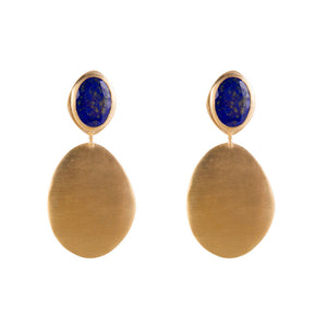 Samara Lapis Shield Earrings - Gold - Nolan & Co