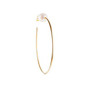 Pearl Teardrop Hoops Earrings - Gold - Nolan & Co