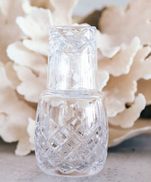 European Diamond Cut Crystal Bedside Water Carafe w Tumbler - Nolan & Co