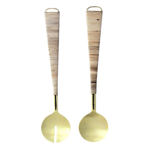 Salad Servers - Gold / Bamboo - Nolan & Co