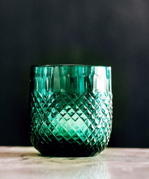 DIAMOND SNAKE CUT TUMBLERS - SET OF 2 – EMERALD - Nolan & Co