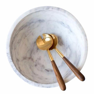Marble bowl with Wood & Brass Salad Servers - Nolan & Co