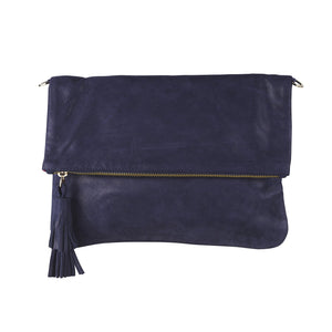 Oversized Metallic Navy Clutch - Nolan & Co