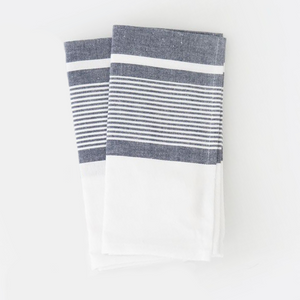 Pondicherry Stripe Tea Towels - Set of 2 - Blue and White - Nolan & Co