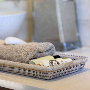 Whitewashed Rattan Towel Tray - Handmade in Myanmar - Nolan & Co