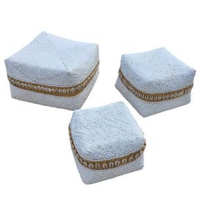 Beaded Box - Set of 3 - White / Shells - Large - Nolan & Co