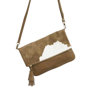 Oversized Tan Cowhide Clutch - Nolan & Co
