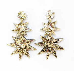 Gold Glitter Star Drop Earrings - Nolan & Co