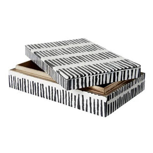 Black and White Stripe Resin Box - Rectangular