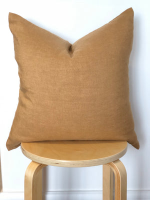 100% Stonewashed European Linen Cushion - Ochre - Nolan & Co