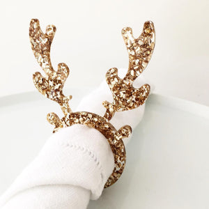 Gold Glitter Reindeer Napkin Rings - Set of 4 - Nolan & Co