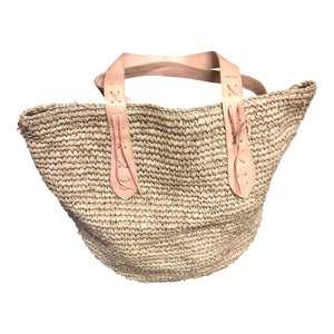 Raffia Bag with Tan Leather Straps - Large - Nolan & Co