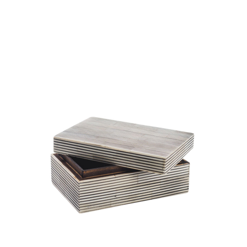 Pin Stripe White & Black Bone Box - Rectangular - Nolan & Co