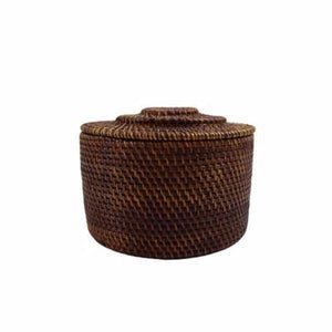 Dark Rattan Storage Box - Round - Nolan & Co