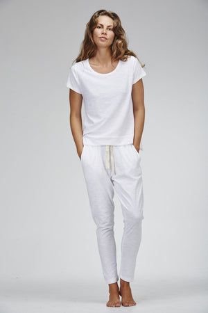 Slub Lounge Pant - White - Nolan & Co